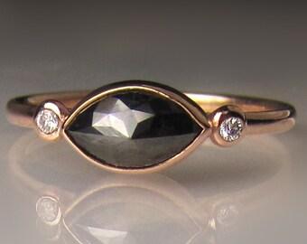 14k Rose Gold Rose Cut Diamond Engagement Ring, Black Rose Cut Diamond Ring, Marquise 14k Rose Gold Diamond Ring