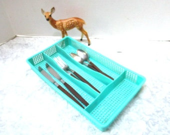 Vintage Drawer Organizer Tray Compartments, Aqua Turquoise Silverware Cutlery Flatware Holder Plastic Separator Kitchen Bathroom Office