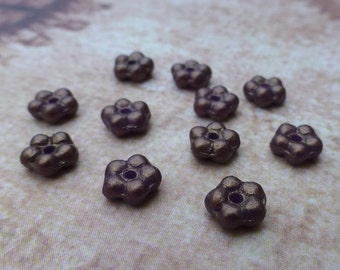 free uk postage - 120 Beads Forget Me Not Flower Beads Brown Gold Shine