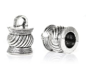 free shipping in UK 10 pcs Necklace Bracelets End Tips Antique Silver Striped Fits 6.5mm Cord