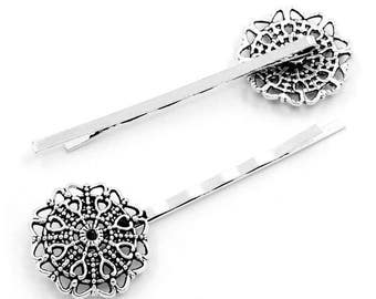free shipping in UK - 10 pcs Antique Silver Hairgrip Hair slide with filigree pad