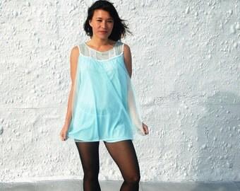 1960s Powder Blue Nightgown and Matching Panties Set Vintage Mad Men Era Lingerie S/M