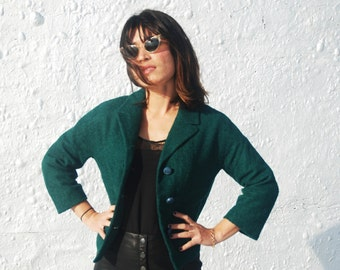 CLEARANCE Vintage 1960s Hunter Green Blazer Button Down Cropped Bolero Jacket by Dorr Woolen by Neusteters S/M/L