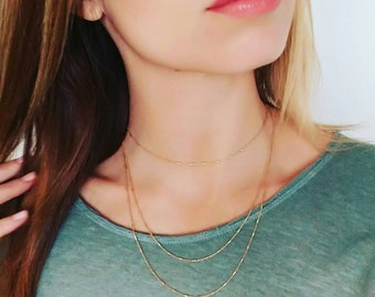 Double Layer Dainty Gold Vermeil Chain Necklace. Minimalist. Everyday. Delicate. Gift. Boho chic. Sparkle. Bar and chain. Layered Bridesmaid