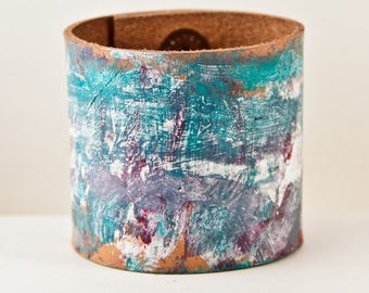 Turquoise Jewelry Cuff Bracelets - Teal, Red, Purple, Blue, White Paint