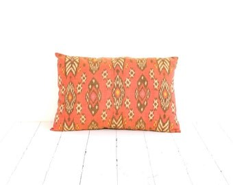 Pillow, Cushion, Ikat, Cotton, Handwoven, 12x18, Orange