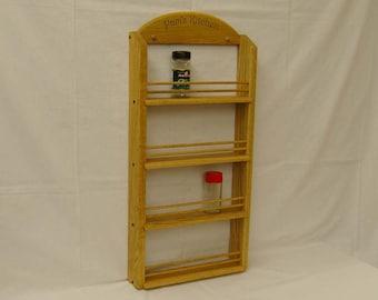 Personalized 4-shelf Oak Wooden Spice Rack Classic Style