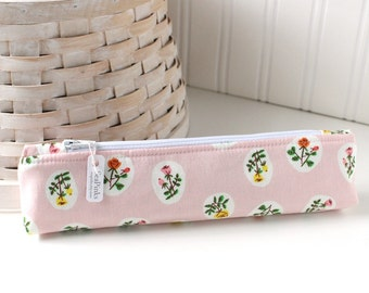 Pink Floral Small Pencil Pouch Skinny Pencil Case Cute Pencil Case Pink Purse Organizer