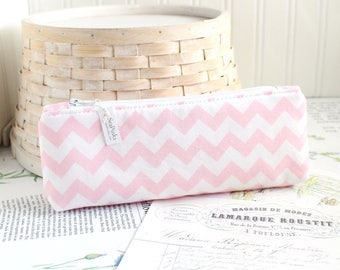 Pink Chevron Pencil Case Pink and White Cute Pencil Case Long Zipper Pouch