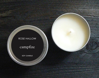 Campfire Candle - 8oz Realistic Firewood Candle, Gift for Dad, Fireplace Scented Candles, Fire Scented Man Candle Soy - Fathers Day Gift