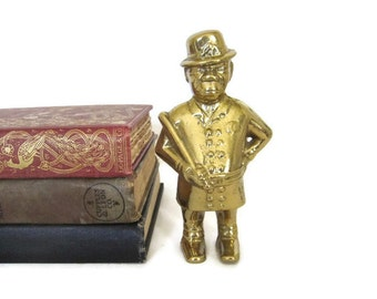 Vintage Brass English Bobby Policman Bank, Heavy Brass Watchman with Night Stick Penny Bank