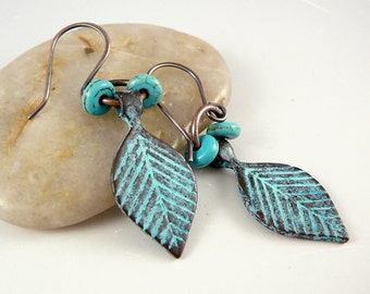 Leaf Earrings, Funky Earrings, Verdigris Earrings, Cool Earrings, Copper Drop Earrings, Jewelry Gift Under 30, Leaf Jewelry, Trendy Jewelry