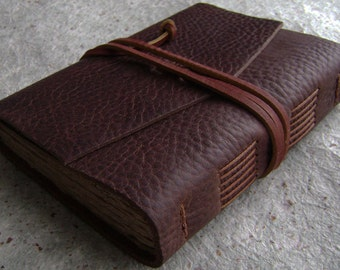 "Leather journal, 4"" x 6"", rugged dark brown, leather travel journal, old world journal, (2347)"