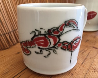 Handmade porcelain pottery mug, hand painted lobster and quote