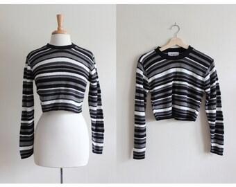 Vintage 1990s Long Sleeve Grey & Black Stripe Crop Top