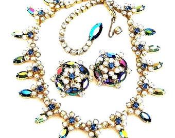 Weiss Peacock Color Necklace and Earring Set