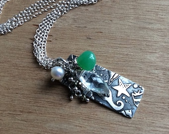 Little Something Seahorse - Sterling Silver Stamped Necklace with Gem Cluster