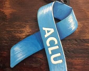 ACLU blue ribbon keychain