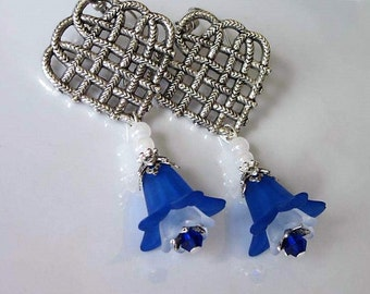 Blue Flower Earrings, Lucite Flowers, Dark Blue Lily, Celtic Knot Chandelier, Silver Heart, Wedding Jewelry
