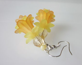 Orange and Yellow Earrings, Victorian Daffodil, Flower Earrings, Flower Jewelry, Bridal Earrings