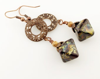 Lampwork Earrings, Antique Copper, Boho Long, Beaded Jewelry