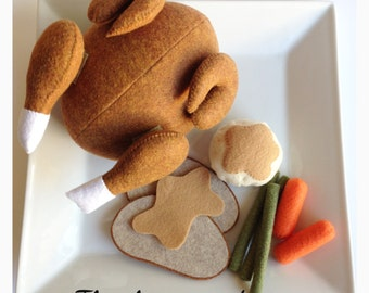 Etsy felt food play food pretend food Thanksgiving dinner set (Turkey)