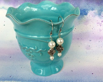 FREE SHIPPING Bali Sterling Silver White Pearl Long Dangle Earrings