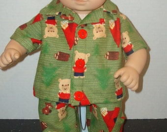 """15"""" Doll Clothes/Camping Bear/2 piece Flannel Pajamas/Made to fit 15"""" Bitty Baby Boy Doll/READY TO SHIP"""