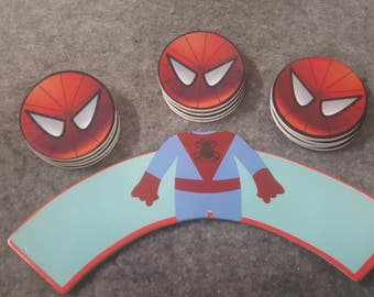 24 piece spiderman cupcake topper and wrapper. 2 inches round. Double sided