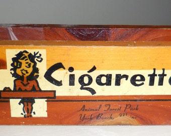 Wood Cigarette  and Match Holder J.B. Deere Cedarcraft Novelty Item Tobacciana