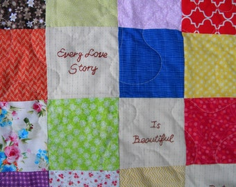 Quilt, Every Love Story, Patchwork Quilt, Classic Americana Patchwork Quilt  double/full size  81 X 81  All Cotton, Ready to Ship