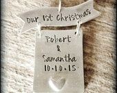 Hand Stamped Pewter Our First Christmas Ornament