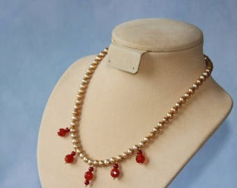 January sale Gold fresh water pearls necklace with Agate gemstone beads, and gold plated clasp.