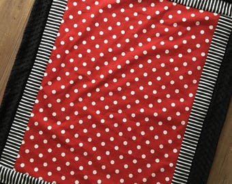 Red  polkadot black minnie mouse blanket Baby quilt minky dot girl