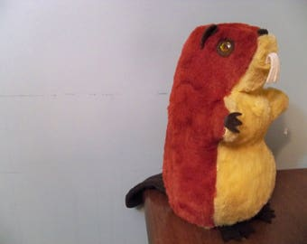 very old regal toys fifties beaver  firm  tightly stuffed softy