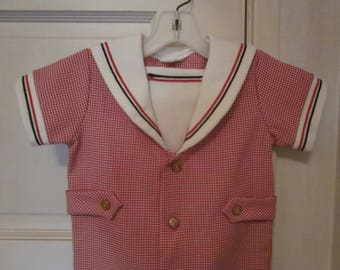 Rare Vintage GOOD LAD Tailored  baby boy Longalls coverall, Sailor style Patriotic
