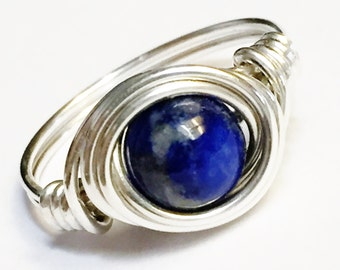 Lapis Ring   Lapis Lazuli Ring Lapis Lazuli Gemstone  Lapis Jewelry  Sterling Rings for Women  Sterling Silver Rings