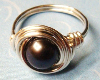 Black Pearl Ring - Black Ring - Peacock Black Freshwater Pearl Sterling Silver Wire Wrapped Ring