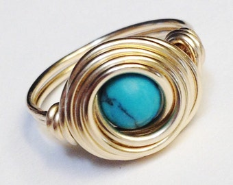 Turquoise Gemstone Wire Wrapped Ring  December Birthstone  Turquoise Ring   Turquoise Jewelry  14K Gold Filled Gold Ring