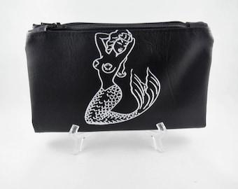 Nautical Wallet, Black Wallet, Silk Screen Print, Mermaid Print, Clutch Wallet, Vegan Leather Wallet, Credit Card Organizer, Mermaid Bag