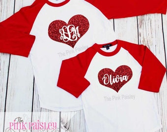 Ladies Personalized Valentines Day Shirt | Ladies Monogrammed Raglan Shirt | Monogrammed Raglan