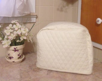 Cream 2 Slice Zipper Toaster Cover Storage Keep Bugs and Mice Out of the Kitchen
