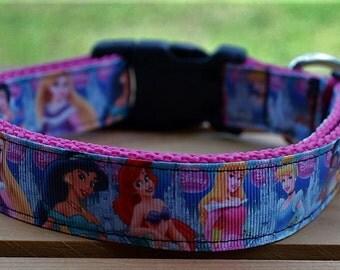 Disney Princess dog collar & or leash on pink webbing