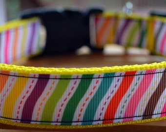 rainbow stitches dog collar & or leash on yellow webbing
