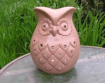 Owl Garden/Kitchen Candle Holder Mink Tan