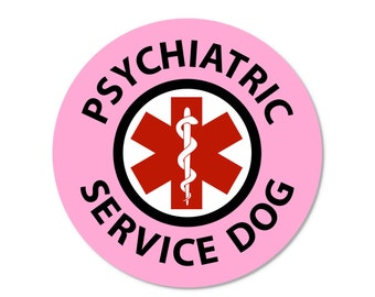 Pink PSYCHIATRIC SERVICE DOG Medical Alert Symbol Round Window or Bumper Sticker (4 or 6 packs)