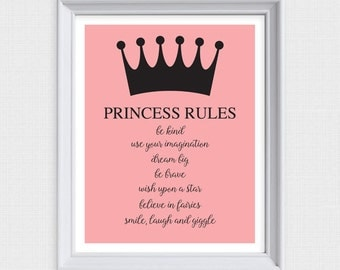 princess rules - printable artwork - nursery art, children's bedroom, download, girl, crown, pretty, pink, quote, baby, saying, glamorous