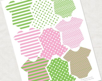 baby tags for girls baby shower decorations in green & pink - printable instant download - pattern banner girl striped dottie zig zag favor