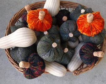 Plush fall squash and gourds made from recycled fabrics
