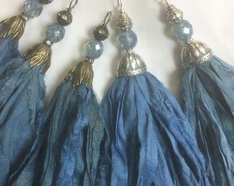 Handcrafted Tassel Country Blue to Denim Sari Silk Tassel Bohemian Tassels Pendant Antique brass flower bead cap #307